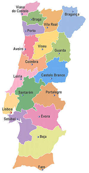 mapa de distritos de portugal Mapa De Portugal Distritos | thujamassages mapa de distritos de portugal